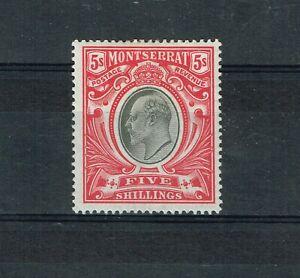 MONTSERRAT - 1903 KEVII 5/- BLACK AND SCARLET SG 23 FINE MINT STAMP