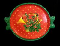 Rare Ullman Vintage Plastic Christmas Serving Tray With French Horn