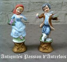 B2018233 - Couple de figurines de 14 ,5 cm en biscuit de porcelaine 1950-70