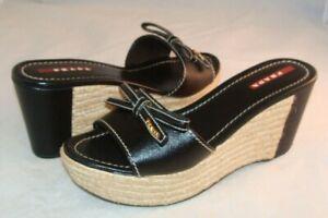 PRADA Slide Espadrilles Black Leather Platform Heels Sz 37 EU 7 US Italy