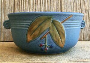 Art Deco Weller Art Pottery Blue Cornish Branch Bowl Vase Planter Vintage