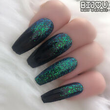 Set of 20 Press On Nails Black Green Glitter Ombre Fake False Halloween Gothic