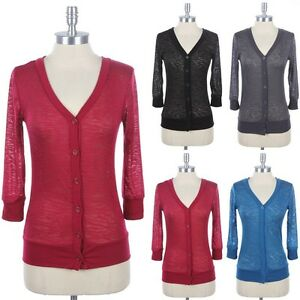 Women's Burnout 3/4 Sleeve V Neck Button Down Front Cardigan Ribbed Casual Easy