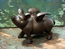 Cast Iron Metal Flying Pig Animal Farm Figurine Statue Home Garden Cabin Decor