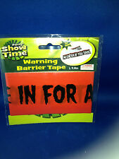 """Barrier tape """"come in for a bite"""" vampire Holloween party orange caution New"""