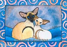 ACEO Ltd Ed Siamés Cat & Kitten Pintura impresión de Original De Suzanne le Buena