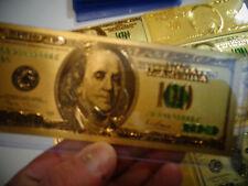24 KARAT 99.9% GOLD $ 100 DOLLAR* GREEN SEAL USA NOTE-EACH IN RIGID BILL HOLDER