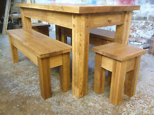 OAK DINING TABLE (with drawer) inc. TWO OAK BENCHES & TWO STOOLS