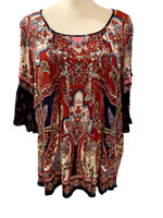NWT New Bila Brand Floral Paisley Boho Womens Slit Sleeve Shirt Top M Medium