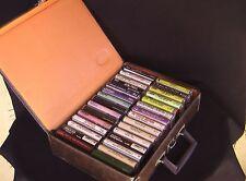 Leather Look Cassette Case W/ 30 Cassettes ELVIS LIBERACE DEAN MARTIN LOMBARADO