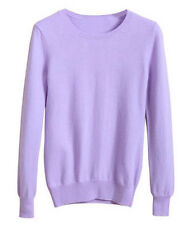 Womens Ladies Wool Cashmere Solid Slim Pullover Cardigans Stretch Knit Sweater