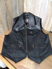 Fashion Point Womans Vest Leather Biker Vest Lined Zippered Pockets B7