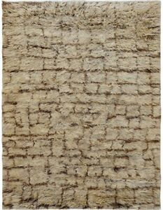 Plush Wall Design Shaggy Moroccan Modern Area Rug Hand-knotted earth tone 6x9 ft