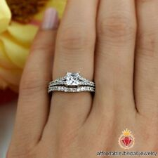 White Gold Over Princess Cut Diamond Engagement & Wedding Bridal Ring Set
