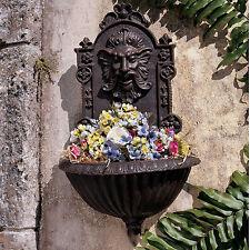 Garden Wall Planter Decor Cast Iron Sculpture Outdoor Patio Hanging Plant Pot