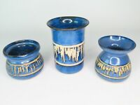 3 x Bentham Pottery Studio Blue & White Icicle Design Vases Made In Yorkshire