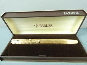 RARE Vintage Parker 65 Stratus Fountain Pen, GT, Med 14K Nib,c1976, Box *Nr MINT