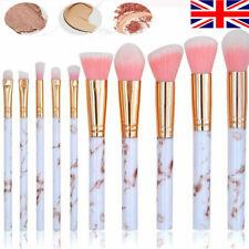 UK Marbling Kabuki Make up Brush Set Brushes Blusher Face Powder 10Pack Pink New
