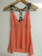 Shakuhatchi Top Tank Cami Orange Cotton V Neck Open Back Casual Size 8