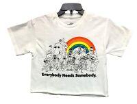 Sesame Street Women's Everybody Needs Somebody Licensed Crop Top T-Shirt New