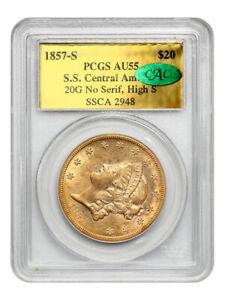 S.S. Central America: 1857-S $20 PCGS/CAC AU55 (20G No Serif, High S)