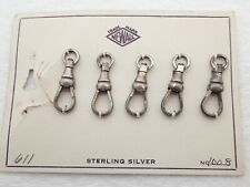 LOT OF 5 NOS ANTIQUE STERLING SILVER POCKET WATCH CHAIN SWIVEL CLASP PARTS