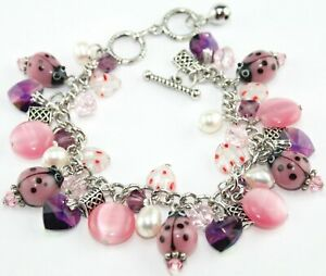 Pink Ladybird, Flower Bead & Swarovski Heart Crystal Charm Bracelet (Adjustable)
