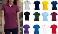 Fruit of the Loom Womens Short Sleeve Plain Ladies Fit Piqué Polo Shirt