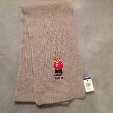 NWT Mens Polo Ralph Lauren Scarf Gray w/Awesome University Polo Bear Logo
