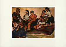 "1960 Kim Dong ""Fishing"" Vietnam War Lacquer Painting Vintage Art Print"