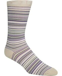 New Mens Cole Haan Beige Multi Stripe Cotton Blend Crew Dress Socks 7 - 12