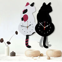CREATIVE CARTOON ANIMAL CAT SWINGING TAIL PENDULUM WALL CLOCK HOME DECOR STRICT