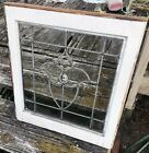 Antique Partial Beveled Leaded Glass Window Tulip Architectural Salvage