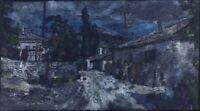 """Russischer Realist Expressionist Monotype auf Seide """"Abend"""" 44x24 cm"""