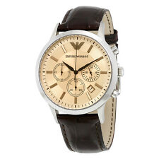 ARMANI MENS CHRONOGRAPH WATCH AR2433 AMBER DIAL LEATHER STRAP, COA, RRP £279.00
