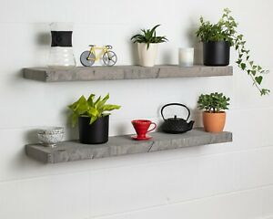 Grey Straight Edge- Thick- Floating Shelf- Wax Finish-Brackets Included-Rustic P