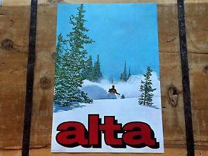 VINTAGE 1960's *ALTA* SKI Area UTAH DEEP POWDER SKIING Poster w/ MERLIN BINGHAM!
