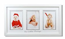 8.5x16.3-inch Photo Wood Frame with White/Silver Double Mat for 3 4x6-inch,White