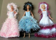 3 robes longues pour barbiee princesse chapeau boa uniques  made in France 🇫🇷