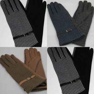 Damen Handschuhe Fleecefutter Fingerhandschuhe Unifarbe Einheitsgröße Kariert