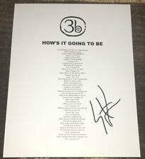 STEPHAN JENKINS SIGNED THIRD EYE BLIND HOW'S IT GOING TO BE LYRICS SHEET w/PROOF