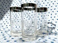 MCM Set of 3 Dorothy Thorpe Silver Rim Etched High Ball Glasses - Vintage 1960s