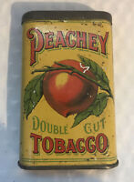 Rare Vintage Peachey Double Cut Tobacco Tin Lithographed Hinged Tin Nice Colors
