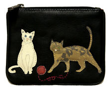 Yoshi Black Leather Cats Playing Coin Purse - Excellent