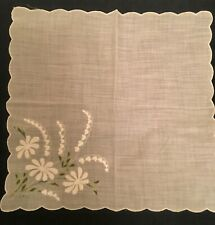 Vintage White Daisy Lily of the Valley Embroidered Sheer Handkerchief Scalloped