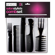5 Salon Comb Hairdressing Wide Tooth Detangler Hair Brush Style Combs Set