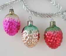 Set 3 Berry Vintage Xmas Decor Christmas Russian Glass Pink Red Ornament Ussr