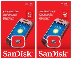 2 x SanDisk 32GB Micro SDHC SD Class 4 UHS-I TF Memory Card SDSDQM-032G Retail
