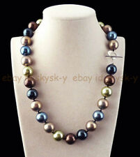 Huge 12mm Genuine Multicolor Round South Sea Shell Pearl Necklace 18'' AAA