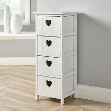 White Wooden 4 Drawer Chest Storage Unit Bedroom Organiser Bedside Seconds